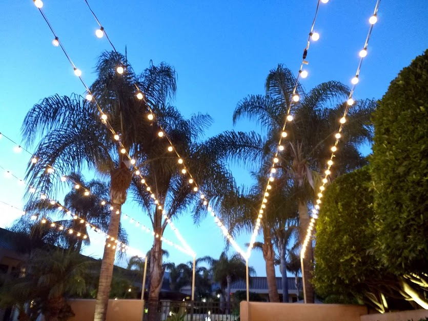 Courtyard with lights